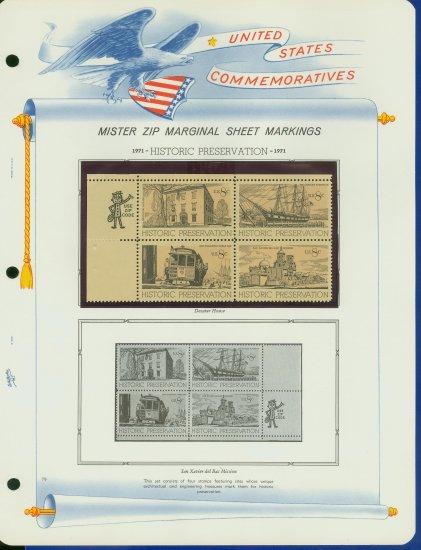 1971 USA MNH Scott# 1440 - 43 - Mr. Zip Blocks of 4 Stamps mounted on a White Ace Page - E2703