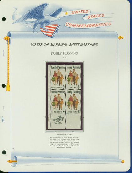 1972 USA MNH Scott# 1455 - Mr. Zip Block of Four Stamps mounted on a White Ace Page - E2703