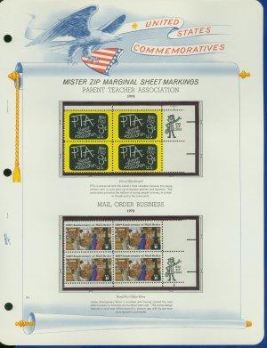 1972 USA MNH Scott# 1463, 1468 - Mr. Zip Blocks of 4 Stamps mounted on a White Ace Page - E2703