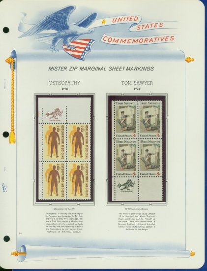 1972 USA MNH Scott# 1469, 1470 - Mr. Zip Blocks of 4 Stamps mounted on a White Ace Page - E2703
