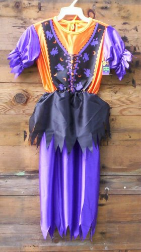 Witch Dress Orange/Blk/Purple MEDIUM Halloween Costume New Costumes SPECIAL SALE PRICE!!
