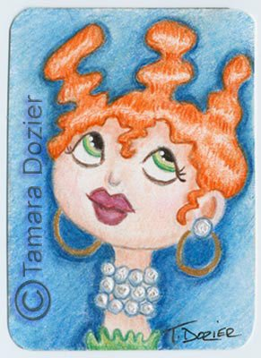 "ACEO print - ""She wears pearls"""