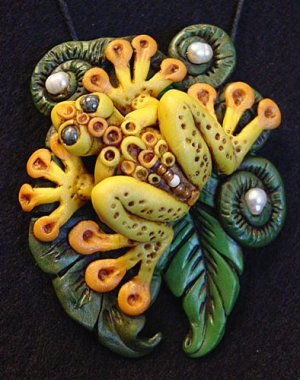 Frog polymer clay and pearls focal bead
