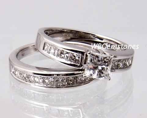 SZ 8 - 2.50 CARAT PRINCESS CUT WEDDING ENGAGEMENT RING SET