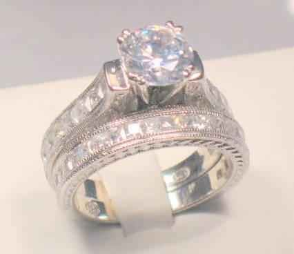 SZ 8 - 3 CT ROUND PRINCESS VINTAGE HEAVENLY ENGAGEMENT RING SET