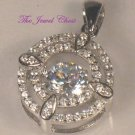 1.75 Ct Round Halo Floating Diamond Pendant Necklace with Chain White Gold