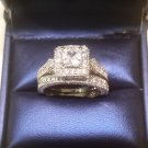 Princess cut Solitaire Antique Diamond Engagement Ring Wedding Set White Gold