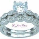 VS Round cut Solitaire Diamond Engagement Ring White Gold Bridal Wedding Set