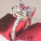 5.00 Ct Emerald cut Solitaire Engagement Ring Eternity Band White Gold