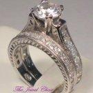 VVS1 Princess Diamond Engagement Ring Wedding Band Vintage Style White Gold