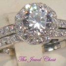 2 Ct Round cut Diamond Engagement Ring Wedding Band White Gold Halo Design
