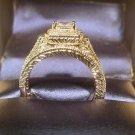 D VVS1 Princess Vintage Diamond Engagement Ring Wedding Set Antique White Gold