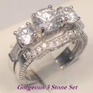 2.75 Ct Round cut Diamond Three Stone Engagement Ring set Antique White Gold