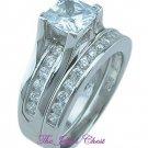 2.45 Ct Princess cut 2 Piece Engagement Ring Wedding Band set White Gold