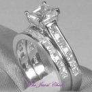 2 Ct Princess Cut 2 Piece Engagement Wedding Ring Band Set 14K White Gold