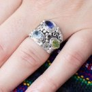 Genuine Peridot, iolite, Blue Topaz Wide Band Ring with Bead Designs in Sterling