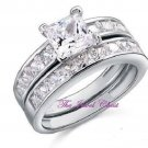 3.72 Ct Princess cut Engagement Ring with Matching Wedding Band White Gold