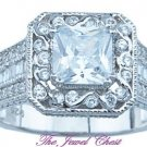2.50 Ct Princess and Round cut Halo Diamond Solitaire Engagement Ring