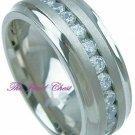 3 Carat Men's Round Diamond Ring Eternity Band Titanium 8mm
