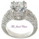 3 Ct Round Pave cut VVS1 Diamond Engagement Ring Vintage White Gold Solitaire