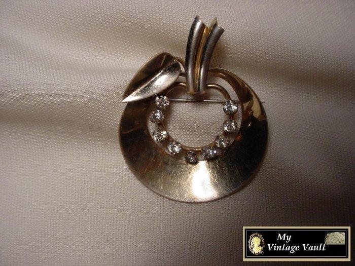 Silver Apple & Rhinestone Pin