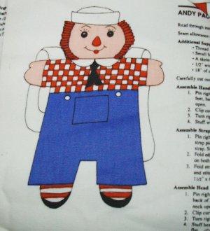 RAGGEDY ANDY BACKPACK FABRIC PANEL BACK PACK SEWING