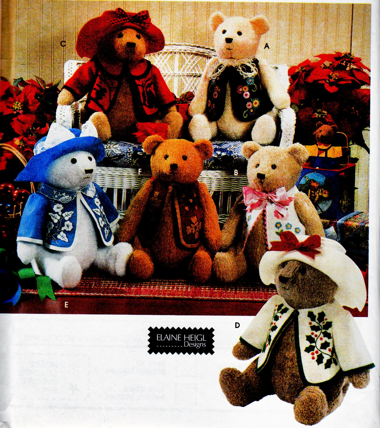 BEAR, CLOTHES+ INK TRANSFERS 4 APPLIQUE SIMPLICITY 7895 SEWING PATTERN UNCUT
