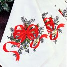 4 CHRISTMAS GARLAND NAPKINS STAMPED EMBROIDERY KIT BUCILLA *BEAUTIFUL