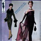 "TYLER GENE VIOLET GOWN WRAP GLOVES + 15.5"" FASHION DOLL PATTERN McCALL 3845 MINT"