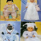 BABY DOLL PATTERN 3 SIZES OUTFITS HATS CHRISTENING GOWN McCall's 3899 MINT UNCUT