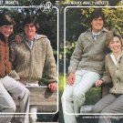 FOUR KNITTED BULKY ADULT JACKETS HIS/HER BOUQUET #442 & #440 SWEATERS CARDIGANS