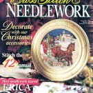 CROSS STITCH & NEEDLEWORK 1996 CHRISTMAS PLATE SANTA HARDANGER + ORNAMENTS BH&G