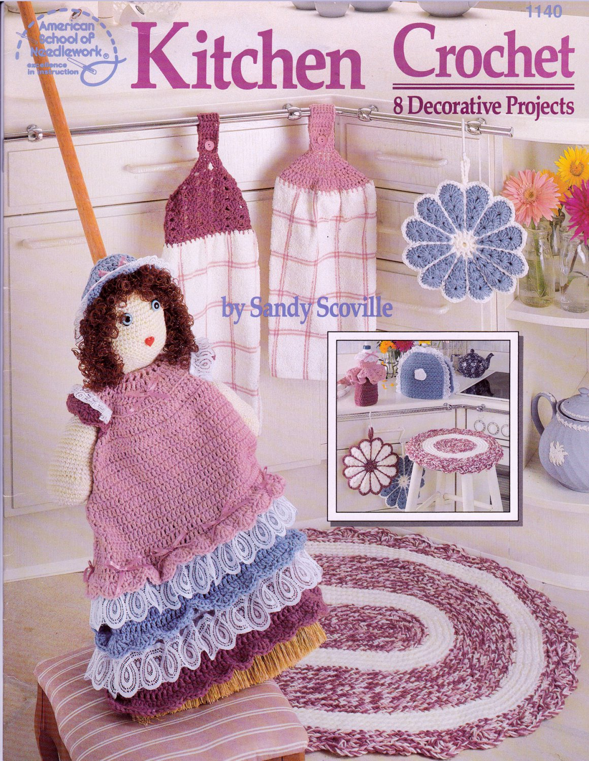 KITCHEN CROCHET 8 DECOR PROJECTS TEA COZY POTHOLDER BROOM COVER DOLL TOPPERS NEW