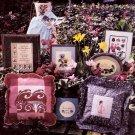 JUST CROSS STITCH WILD FLOWER PANSY GAZEBO GIRL WELCOME FRIENDSHIP HEART MAR '86