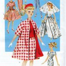 "RETRO '60s BARBIE BUTTERICK 6496 COAT, WEDDING + DOLL 11.5"" PATTERN UNCUT OOP"