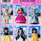 "18"" DOLL DISNEY PRINCESS PATTERN ARIEL BELLE SNOW CINDERELLA SIMPLICITY 5705"