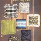 PILLOWS TO KNIT & CROCHET VINTAGE 1976 LEISURE ARTS #86 BARGELLO, FILET