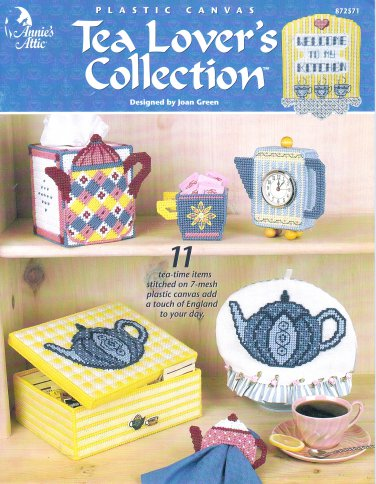 ANNIES ATTIC * TEA LOVERS COLLECTION! PLASTIC CANVAS 2001 PATTERNS OOP
