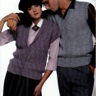 KNIT BEST VESTS EVER VOL.1 BEEHIVE PATONS 466 CASUAL & DRESS LONG & SHORT CABLES