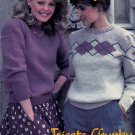 CHUNKY KNITS FAMILY BEEHIVE PATONS #447 PULLOVERS CARDIGANS FAIR ISLE ARGYLE