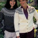 FAIR ISLE KNITS CARDIGAN PULLOVER GORGEOUS! PATONS BEEHIVE 435