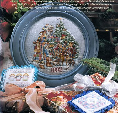 CHRISTMAS 1993 CROSS STITCH & COUNTRY CRAFTS 32 PROJECTS! ORNAMENTS STOCKINGS