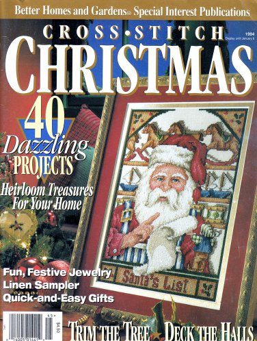CROSS STITCH CHRISTMAS 1994 ORNAMENTS STOCKINGS SANTA NATIVITY+ 40 PROJECTS BH&G