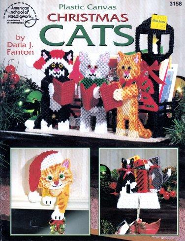 CHRISTMAS CATS PLASTIC CANVAS #3158 AM. SCHOOL NEEDLEWORK CAT DECORATIONS