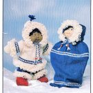 KNIT CABBAGE PATCH DOLL PARKA SET, BUNTING BAG SNUG AS A BUG CUTE! PATONS 1034