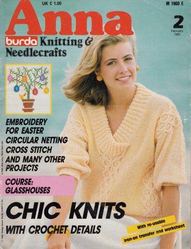 Anna Burda Knitting Needlecraft Sewing Crochet 1985 2 February