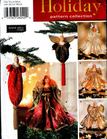 ANGEL TREE TOPPERS & ORNAMENTS CHRISTMAS SIMPLICITY 5888 PATTERN MINT UNCUT