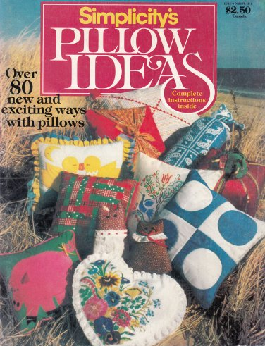 SIMPLICITY PILLOWS OVER 80 DESIGNS! KNIT CROCHET EMBROIDER QUILT APPLIQUE SEW