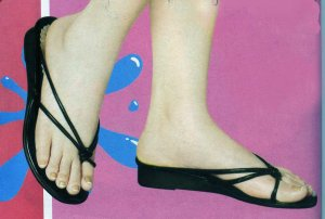 NLW-RAQ Black Low Heeled Strappy Sandals