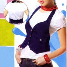 NLW-KRA White Puffed Sleeve Shirt with Blue Vest